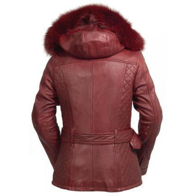 First Manufacturing Elle - Motorcycle Leather Jacket w/ Fox Fur Collar