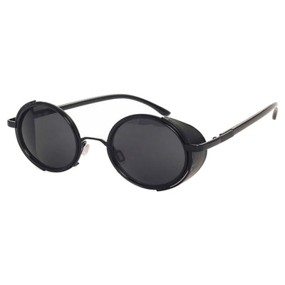 Motorcycle Vintage Round Sunglasses w/ UV 400 Protection, Black
