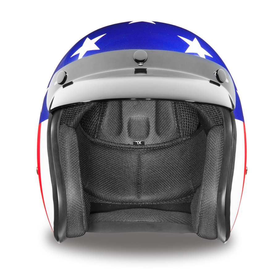 Daytona D.O.T. Cruiser States of America Motorcycle Open Face Helmet, Blue/White/Red