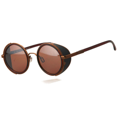 Motorcycle Vintage Round Sunglasses w/ UV 400 Protection, Coffee/Tea