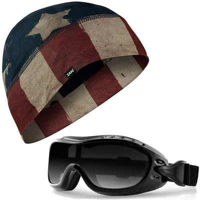 ZANHeadgear® Patriot Beanie with Bobster OTG Motorcycle Goggles