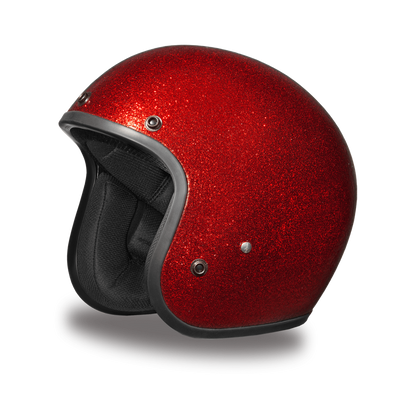D.O.T. Daytona Cruiser Red Metal Flake Motorcycle Open Face Helmet, XS-2XL, Red