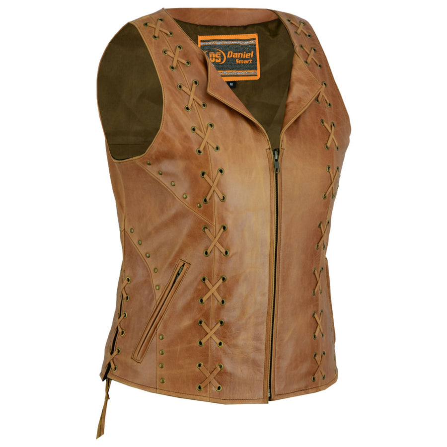 Daniel Smart Women's Brown Zippered Vest with Lacing