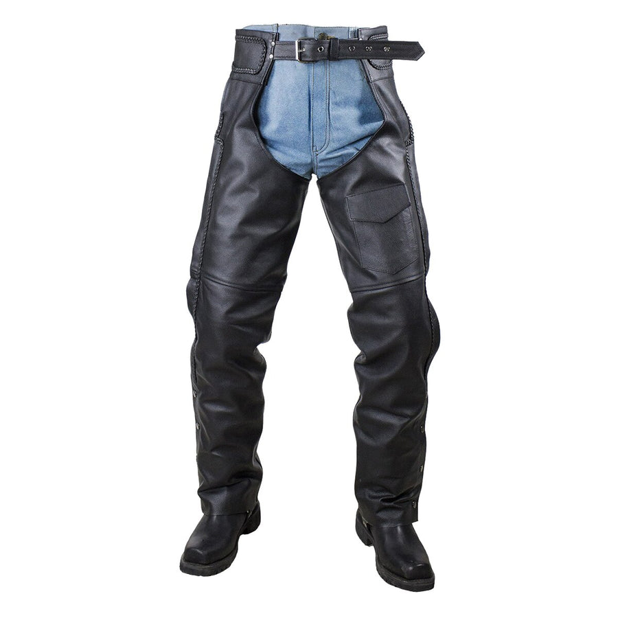 Vance Leather Top Grain Leather Chaps with Braid Trim