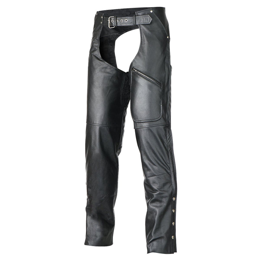 Vance Leather Women's Pants Style Zipper Pocket Naked Cowhide Leather Chaps