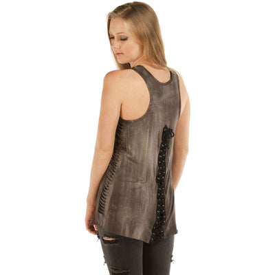 Daniel Smart Women's Long Live The Brave Skull and Roses Tank Top, Rayon/Spandex, Brown