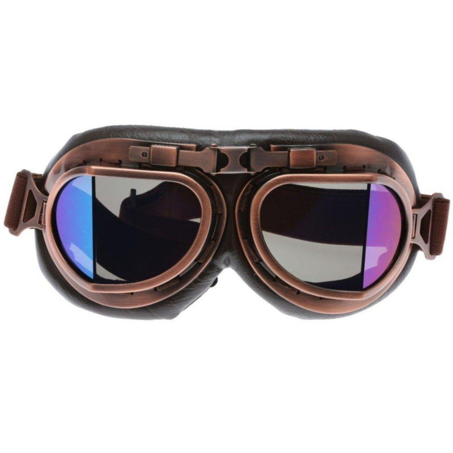 Vintage Aviator Motorcycle Goggles, One Size, Copper Color Frame, Multicolor Lens