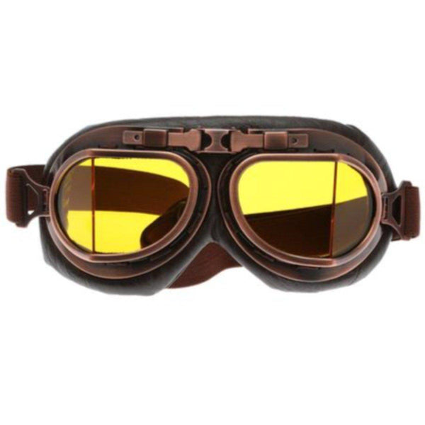 Vintage Aviator Motorcycle Goggles, One Size, Copper Color Frame, Yellow Lens