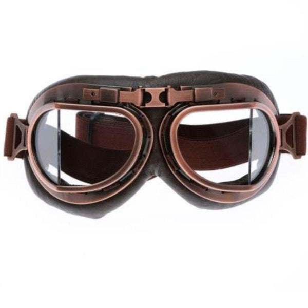 Vintage Aviator Motorcycle Goggles, One Size, Copper Color Frame, Clear Lens