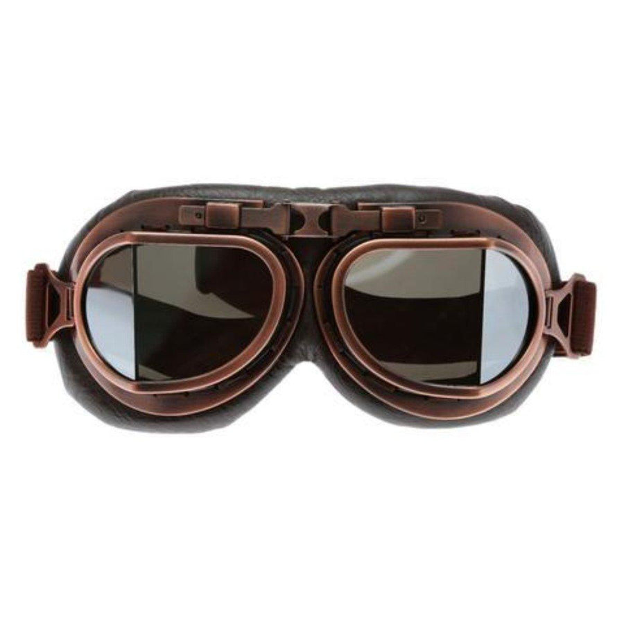 Vintage Aviator Motorcycle Goggles, One Size, Copper Color Frame, Brown Lens