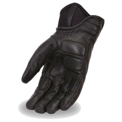 First Manufacturing Hipora Black Leather Driving Gloves w/ Gel Palm