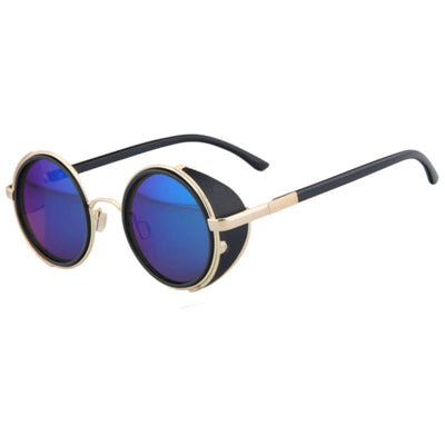Motorcycle Vintage Round Sunglasses w/ UV 400 Protection, Golden/Blue