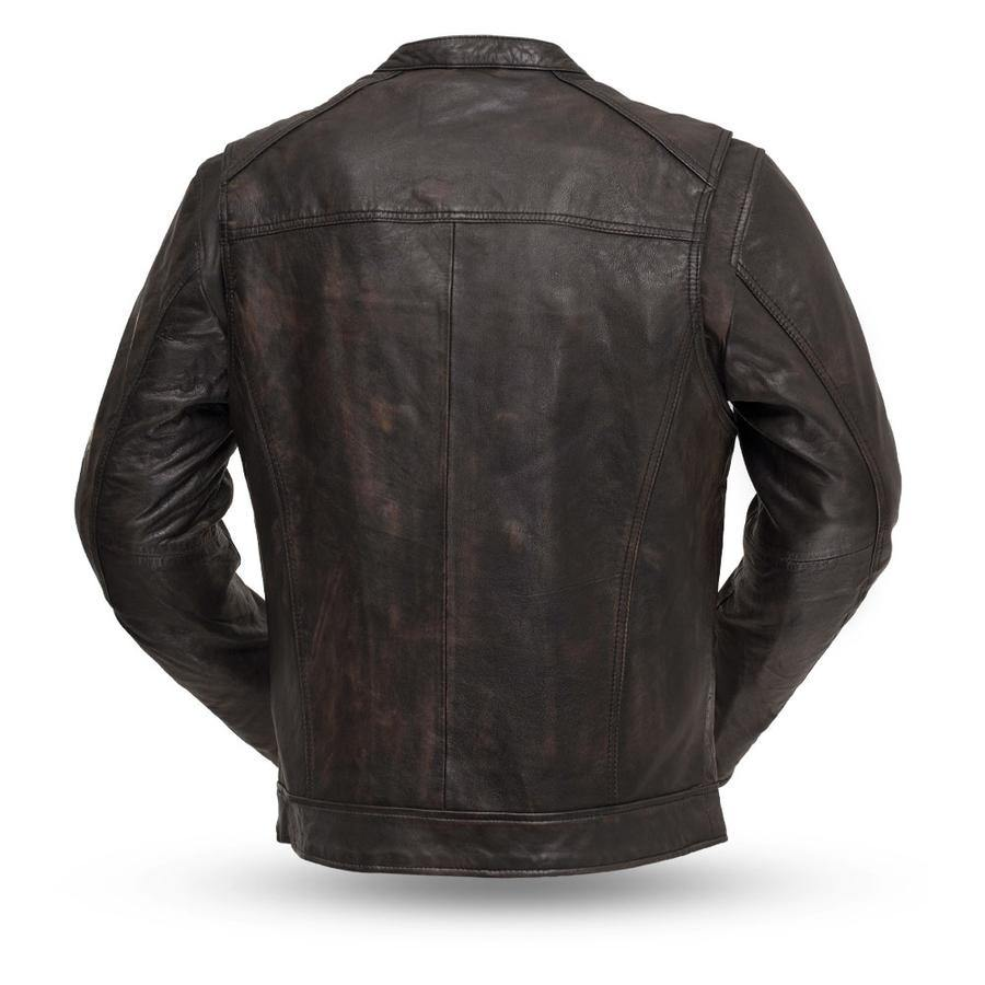 First Manufacturing Men's Hipster Motorcycle Leather Jacket, S-2XL, Distressed Black