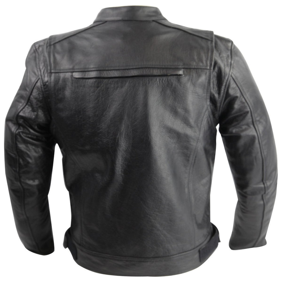 Vance Leather Top Grain Leather Scooter Jacket with Zippered Vents