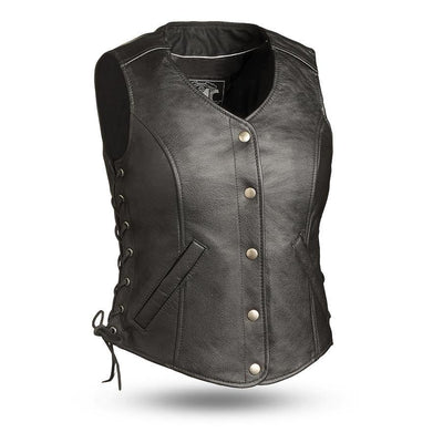 First Manufacturing Honey Badger Motorcycle Leather Vest, Black