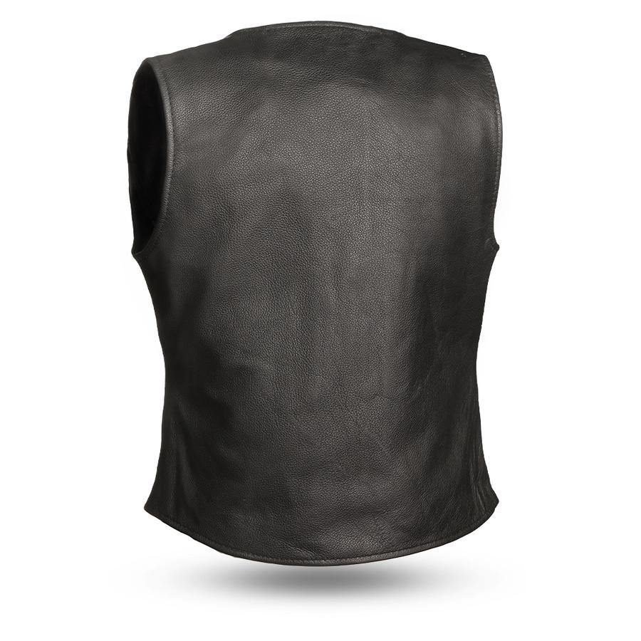 First Manufacturing Honey Badger Motorcycle Leather Vest, Black - American Legend Rider