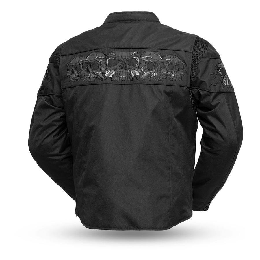 First Manufacturing Men's Immortal Cordura Reflective Skulls Motorcycle Jacket, S-5XL, Black