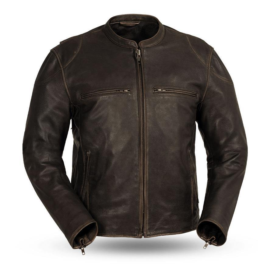 First Manufacturing Men's Indy Leather Jacket, Size S-2XL, Black, Antique Brown