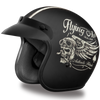 Daytona D.O.T. Cruiser w/ Flying Ace's Motorcycle Open Face 3/4 Shell Helmet, Unisex, Black