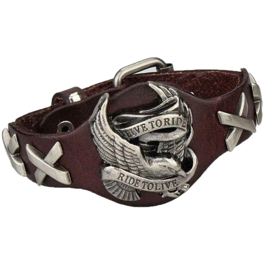 Badass Live To Ride Biker Leather Bracelet, 9 x 0.7 in