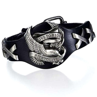 Live To Ride Leather Bracelet