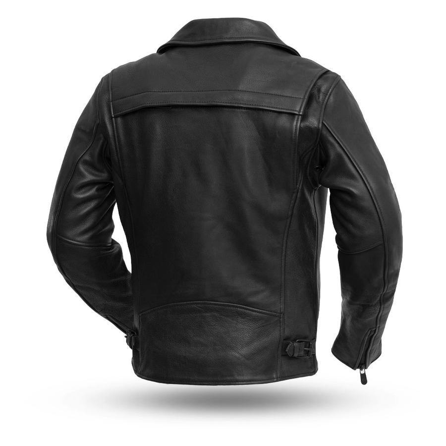 First Manufacturing Night Rider Motorcycle Black Leather Jacket