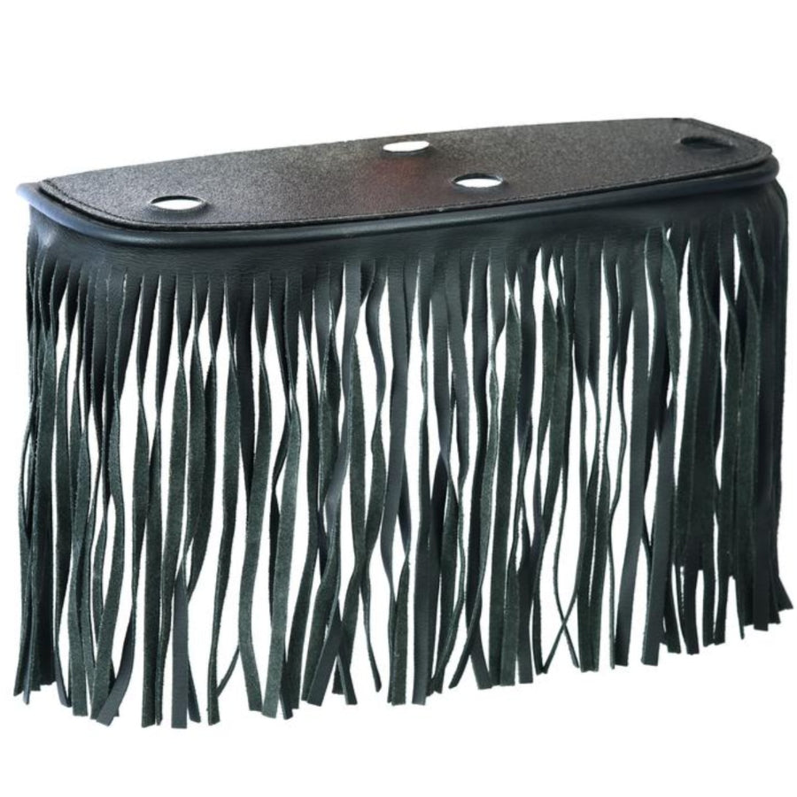 Daniel Smart Black Leather Floor Boards with Fringe, Large