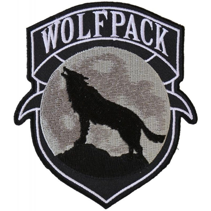 Daniel Smart Wolfpack Patch Wolf Howling Moon Silhouette Embroidered Iron On Patch, 4 x 3.6 inches