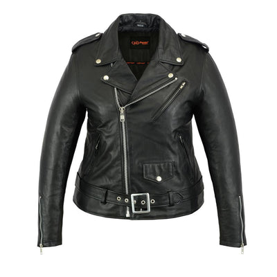 Daniel Smart Classic Plain Side Fitted M/C Style Leather Jacket, Black - American Legend Rider