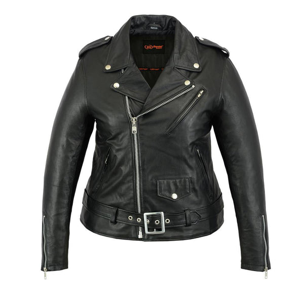 Daniel Smart Classic Plain Side Fitted M/C Style Leather Jacket, Black