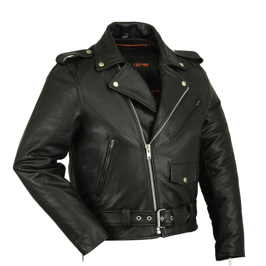 Daniel Smart Plain Side Police Style Motorcycle Leather Jacket, Black