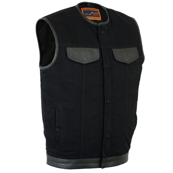 Daniel Smart Denim Concealment Vest with Leather Trim