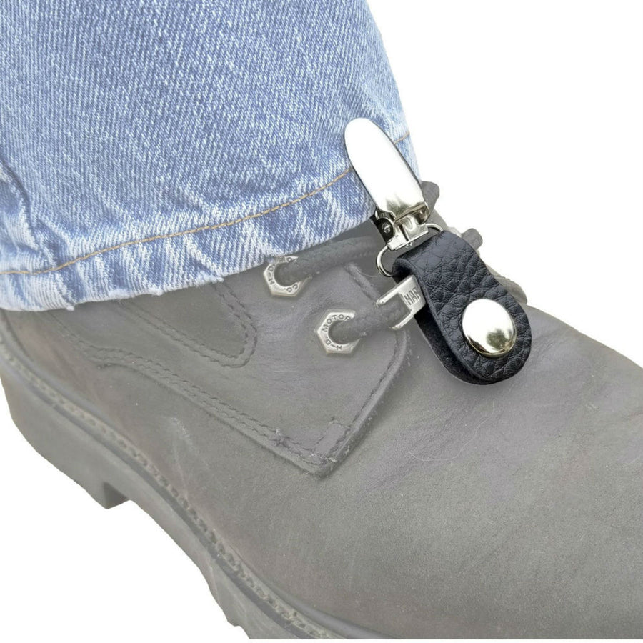 Daniel Smart Boot Clips Navy, Unisex, Leather, Black/Silver