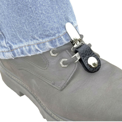Daniel Smart Boot Clips Indian Head Nickel, Leather, Black/Silver