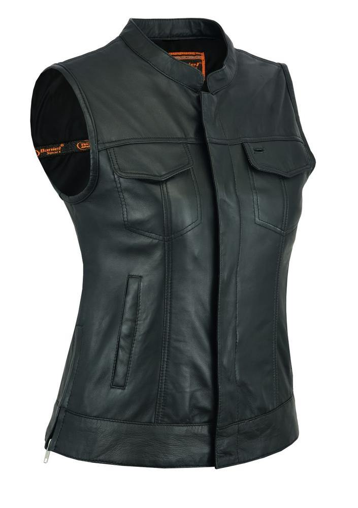 Daniel Smart Premium Single Back Panel Concealment Leather Vest, Black