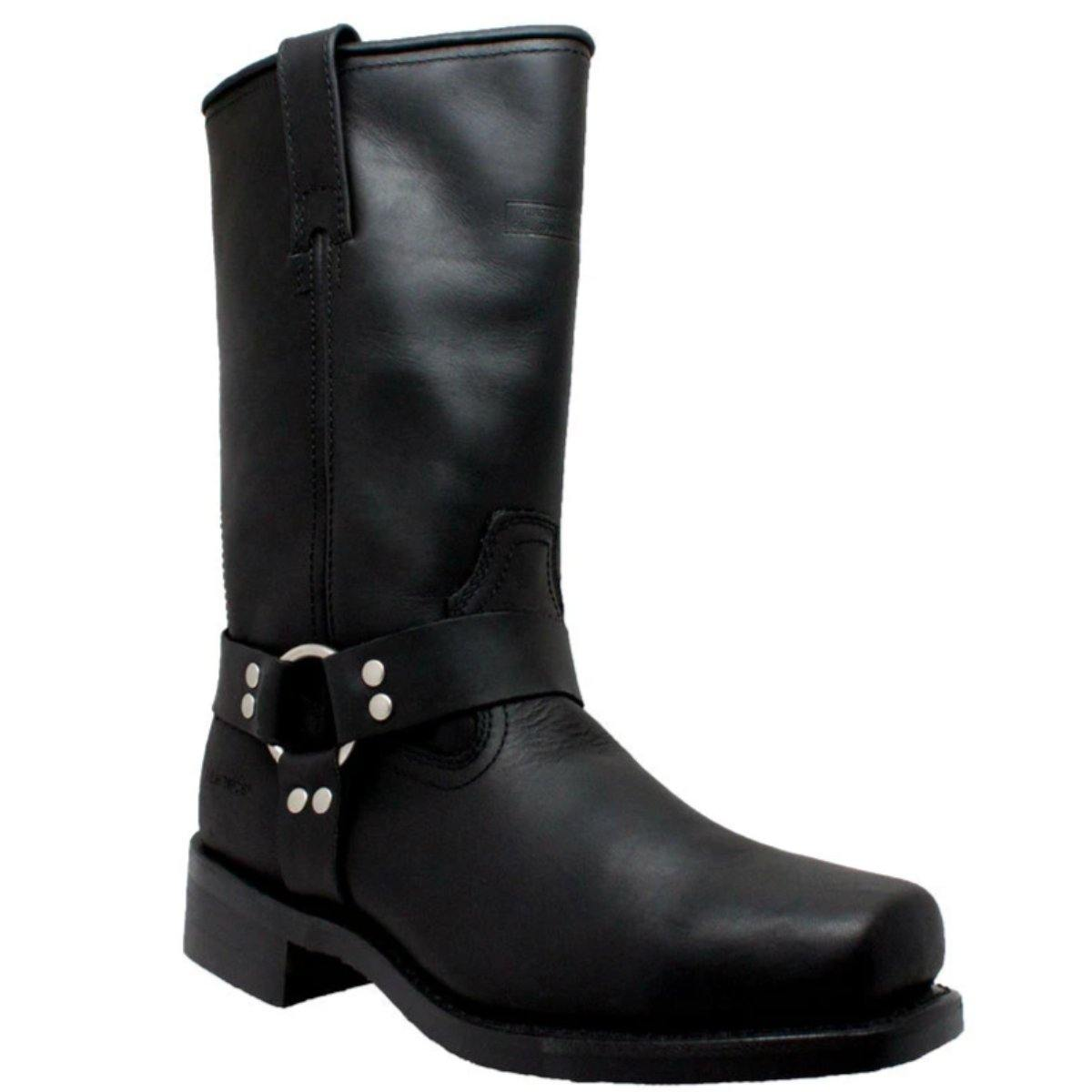"""Daniel Smart Men's 13"""" Harness Leather Boots with PU Cushioned Insole, Black"""