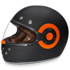D.O.T Retro Dull Black Orange Accents Helmet