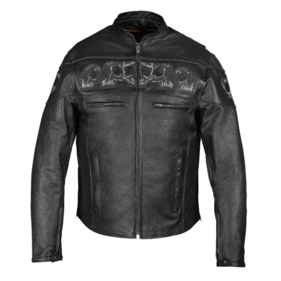 Vance Leather Reflective Skull Premium Cowhide Leather Motorcycle Jacket