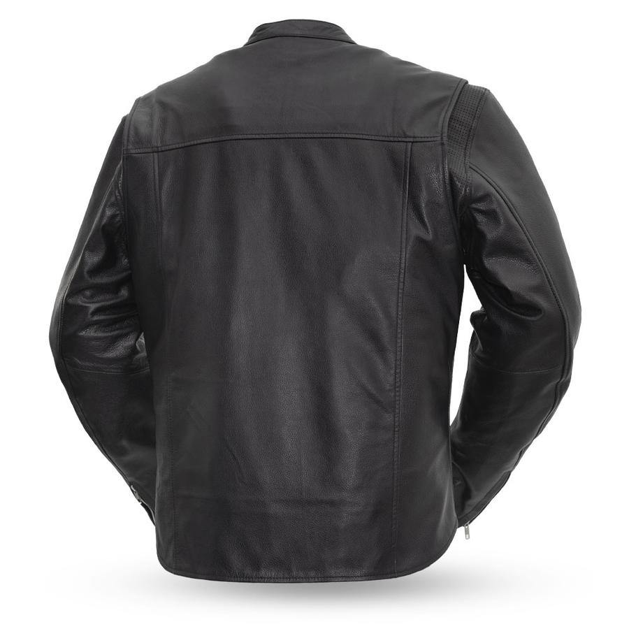 First Manufacturing Men's Rocky Motorcycle Leather Jacket, M-5XL, Black