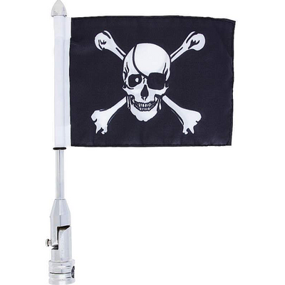 "Jillian Motorcycle Flagpole Mount 13"" & Skull/Crossbones Flag 6"" x 9"", 2-ply Polyester Black Flag/Chrome-Plated Steel Pole"