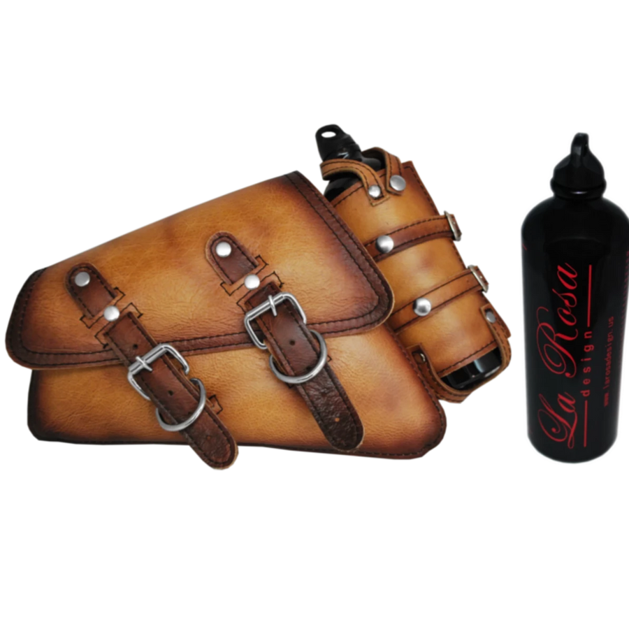 La Rosa Antique Leather Swing Arm Bag with Fuel Bottle