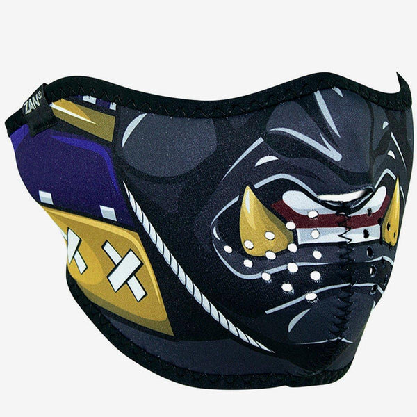 ZANheadgear® Samurai Half Face Mask, Neoprene/Polyester, One Size, Black/Gray/Yellow