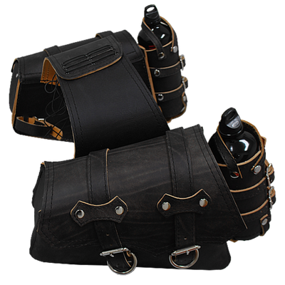 La Rosa Sportsters Throw Over Saddle Bag with Twin Fuel Bottle Holders