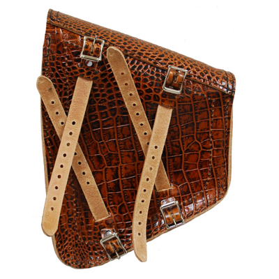 La Rosa Softail Models Embossed Leather Swing Arm Bag