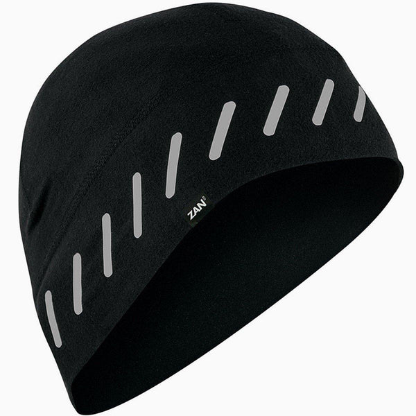 Zan Headgear® SportFlex™ Unisex Black Reflective Style Beanie with 50+ UV Protection, Brushed Polyester/Elastane Ultra-Comfort Material