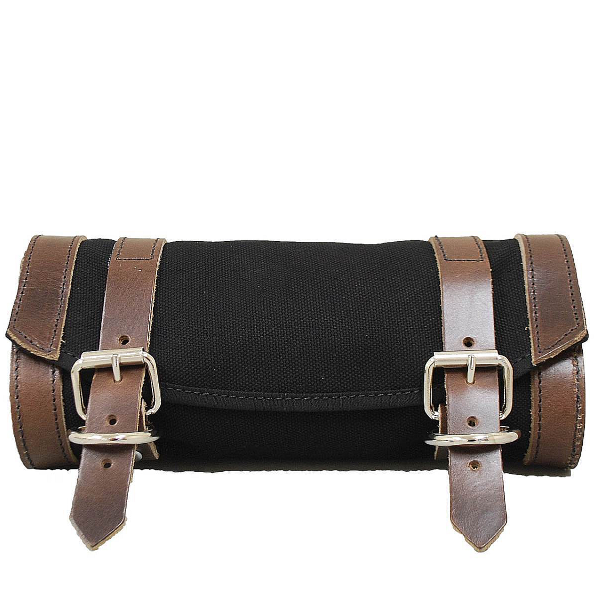 Black with Brown Leather Straps La Rosa Harley Canvas Fork Tool Bag//Tool Roll