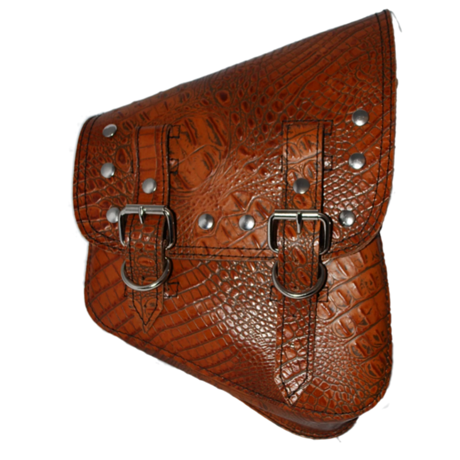 La Rosa Riveted Softail Swing Arm Embossed Leather Bag