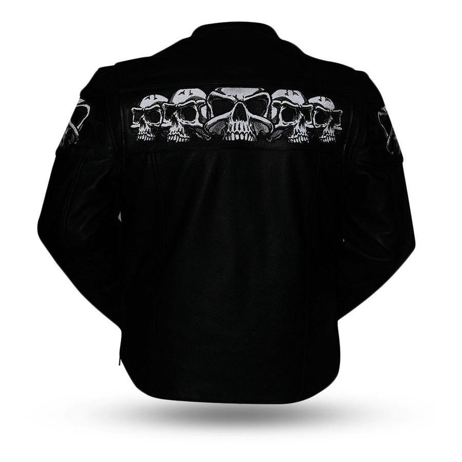 First Manufacturing Men's Savage Skulls Motorcycle Leather Jacket, Size S-2XL, Black