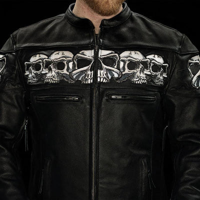 First Manufacturing Savage Skulls Motorcycle Leather Jacket