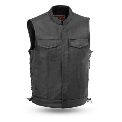First Manufacturing Sniper Club Style Black Leather Vest w/ Side Lacing